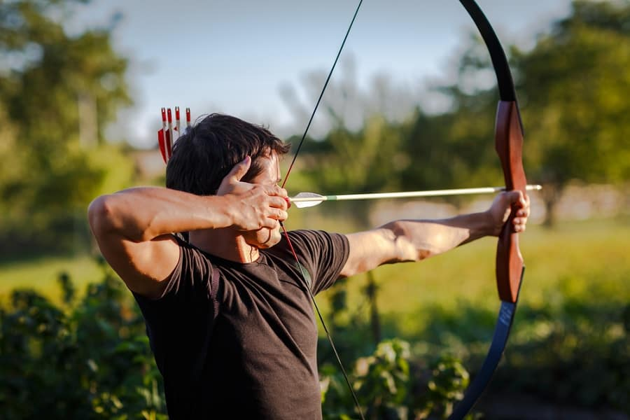 Shooting a bow and arrow